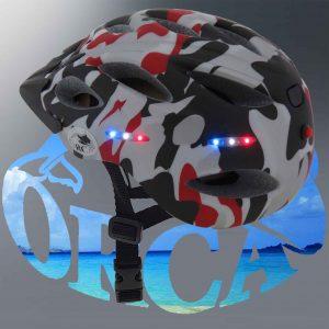 קסדה לקורקינט מוארת-ORCA- כולל סוללה ומטען- תקן CE
