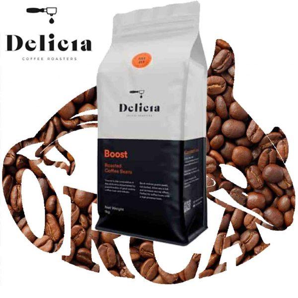 """פולי קפה BOOST במשקל 1ק""""ג של Delicia"""